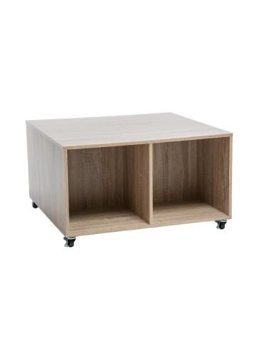 Tavolino in legno naturale 4 ruote Mobili multiuso