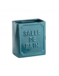 Portaspazzolino in ceramica blu Vivienne Gedy
