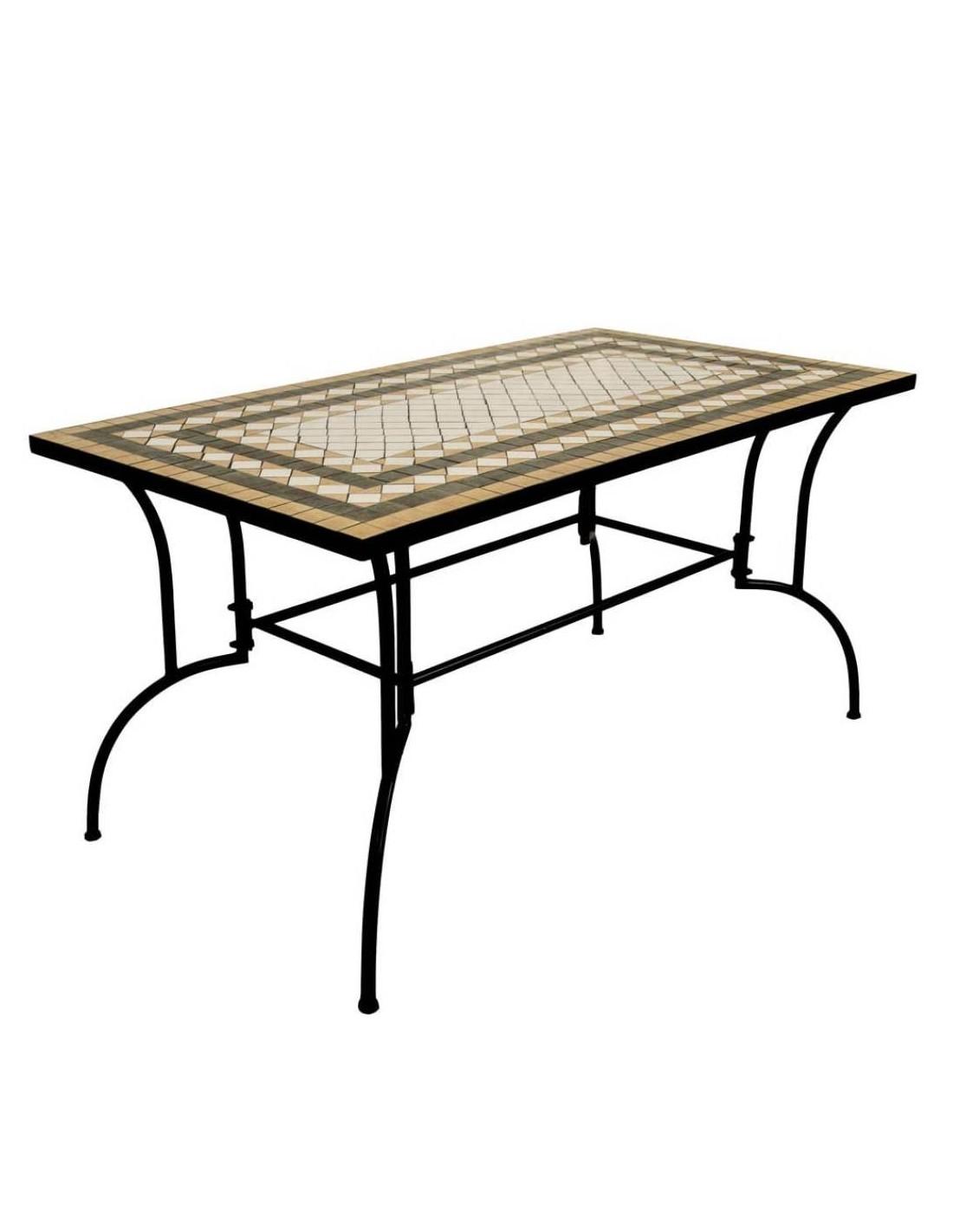 Tavoli In Metallo Per Esterno.Tavolo In Metallo Per Esterno 150 X 80 Cm Con Decorazione Mosaico