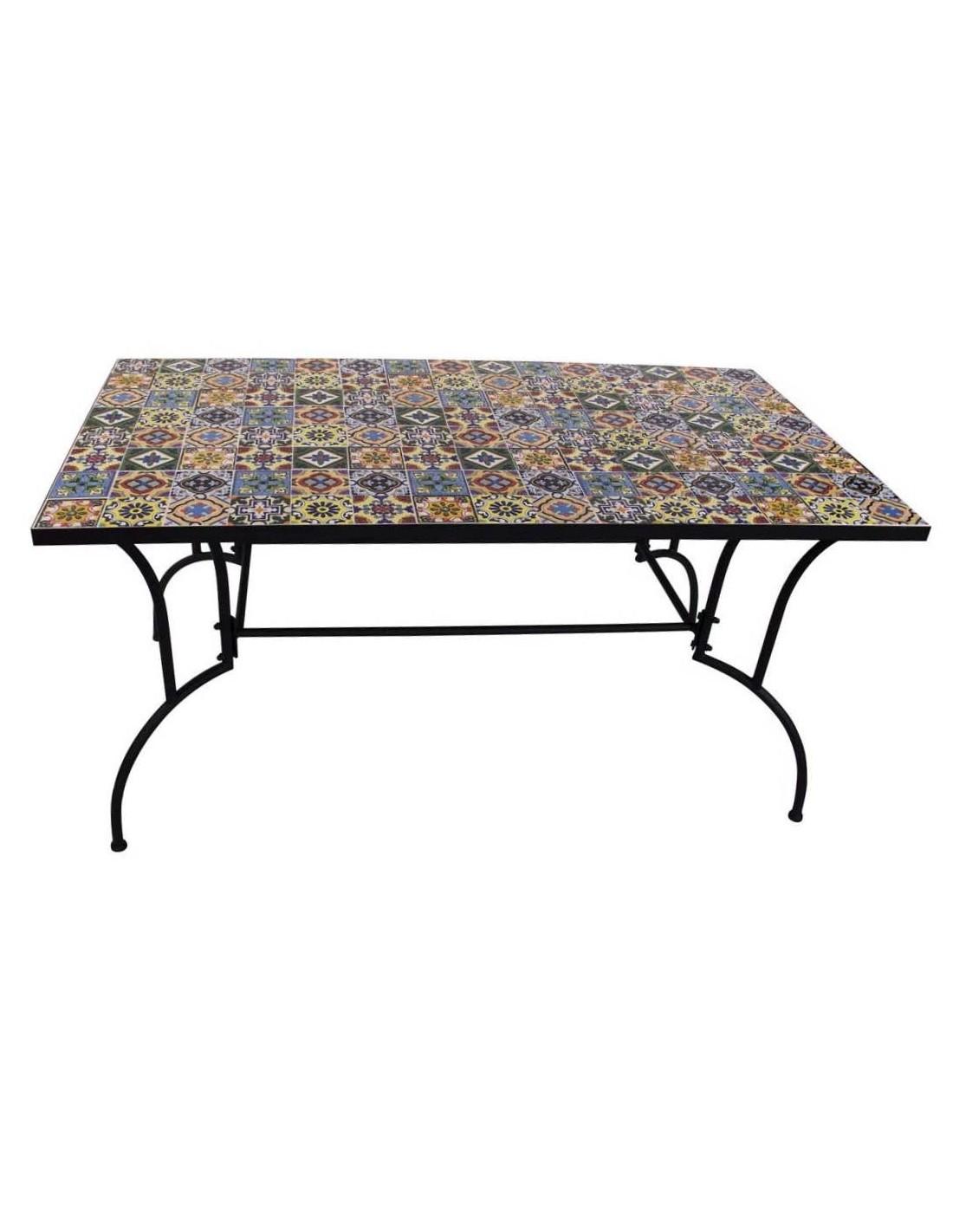 Tavolo in metallo per esterno 150 x 80 cm. con decorazione ...