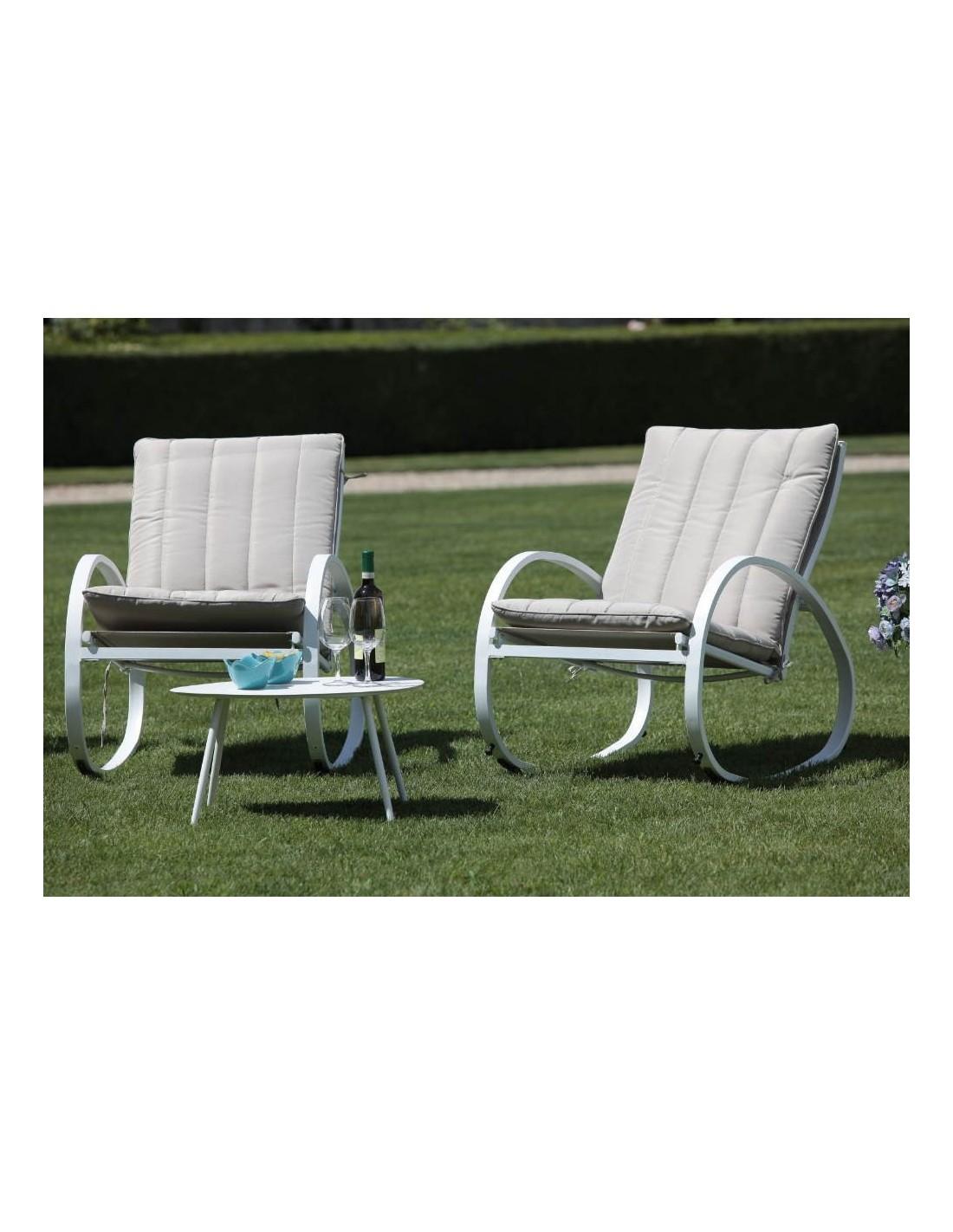 Sedie A Dondolo Per Terrazzo salotto da giardino 2 sedie a dondolo e tavolino basso