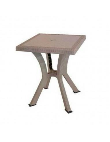 Tavolo da esterno quadrato Rigoletto Rattan taupe 60 x 60 centimetri Tavoli