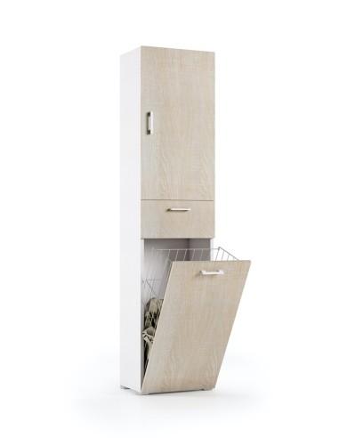 Mobile lavanderia 1 anta 1 cassetto finitura bianca rovere Mobili Bagno